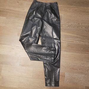 Pants - Vintage Leather High Waisted Pleated Pants 8